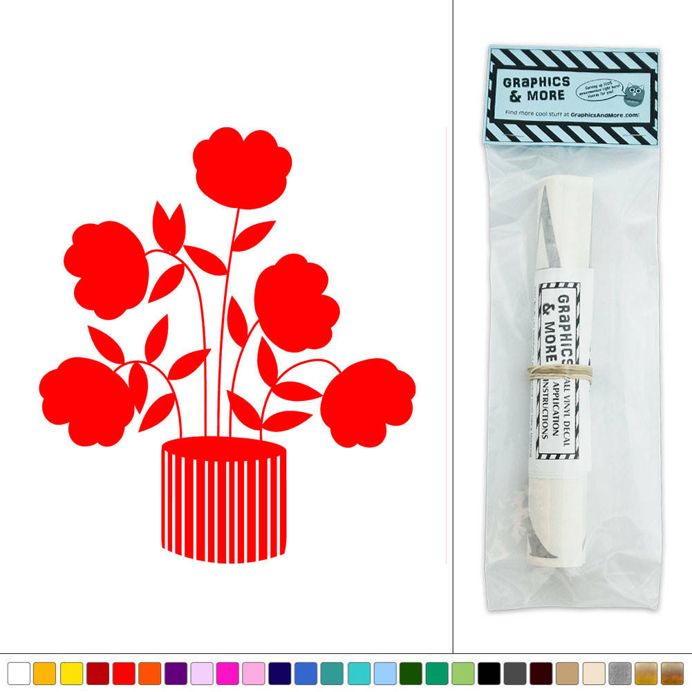 Flowers potted plant art deco vinyl sticker decal wall art for Deco mural stickers