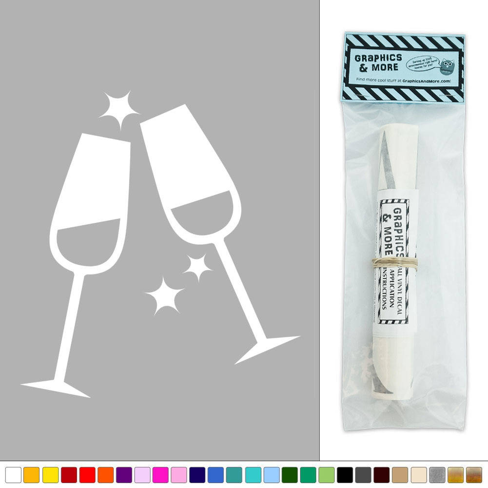 Champagne Flutes Wedding Celebration Party Vinyl Sticker