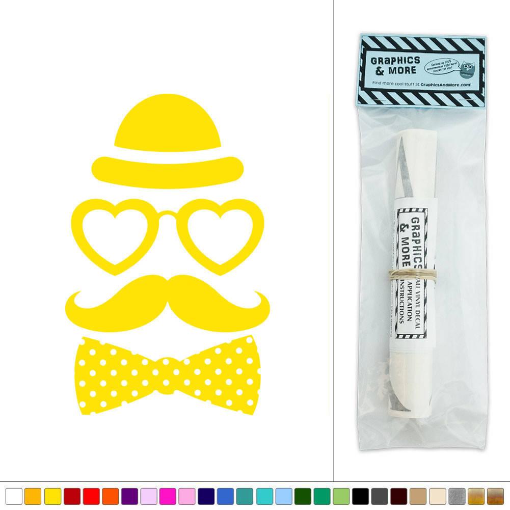 Hipster Fashion Love Mustache Bow Tie Vinyl Sticker Decal Wall Art ...