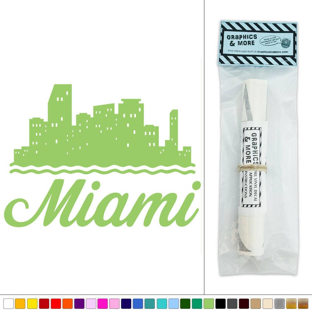 Miami City Skyline Florida Beach Vinyl Sticker Decal Wall