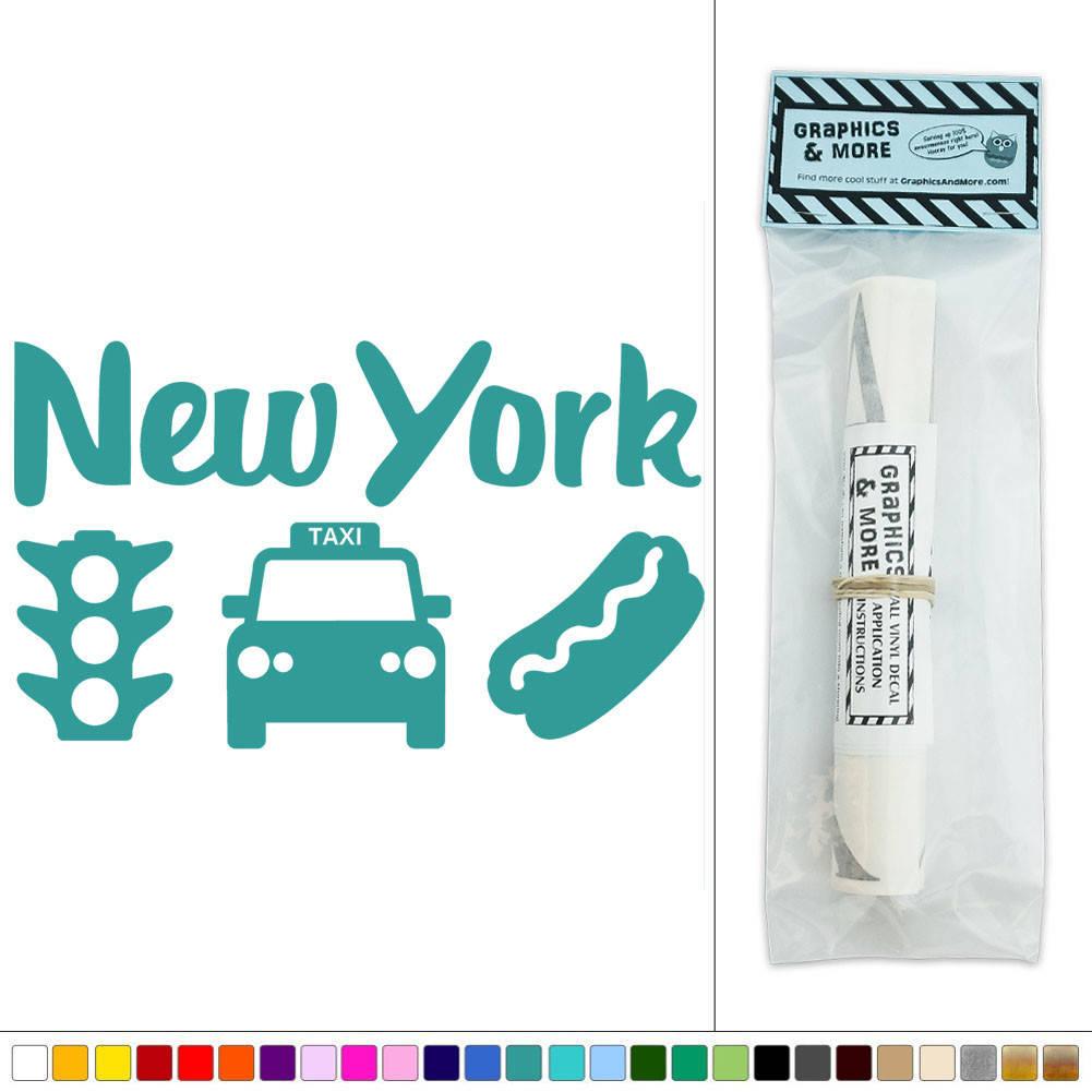 New york taxi traffic light hot dog usa vinyl sticker for Sticker mural new york