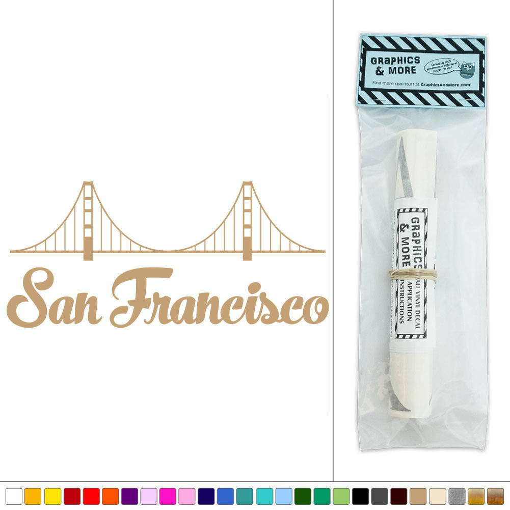 san francisco golden gate bridge california vinyl sticker decal wall art d cor. Black Bedroom Furniture Sets. Home Design Ideas