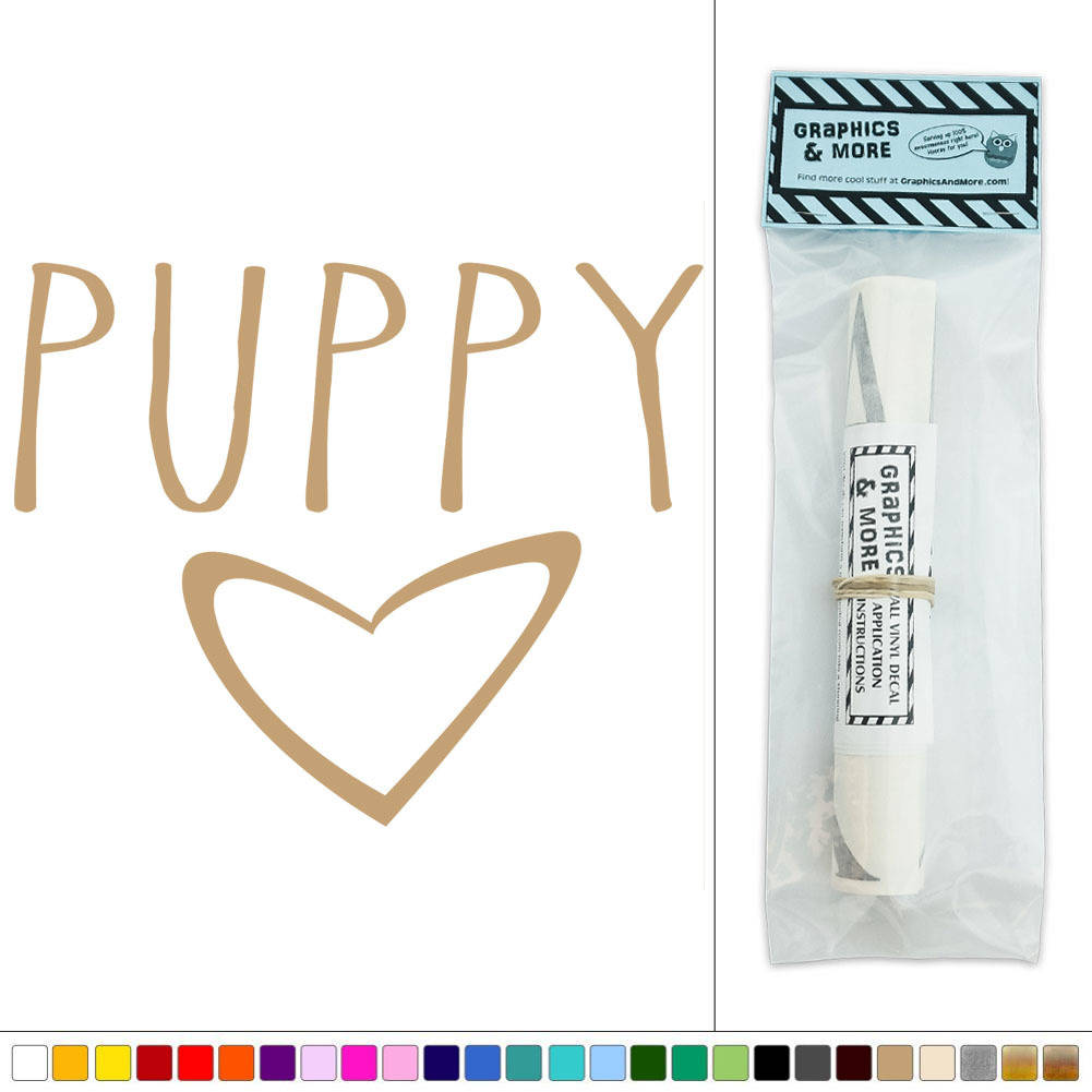 puppy love heart vinyl sticker decal wall art d 233 cor ebay