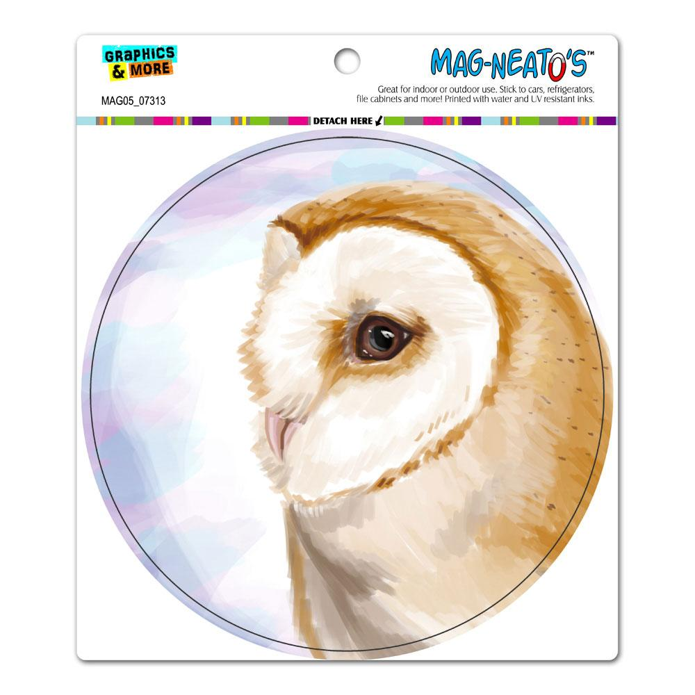 Barn Owl - Bird Wildlife Circle MAG-NEATO'S(TM) Car/Refrigerator Magnet