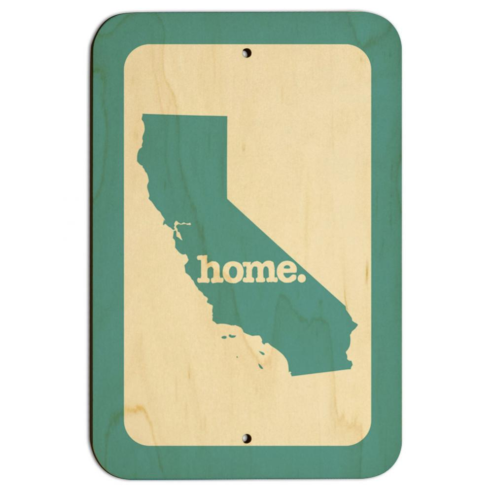"""California CA Home State 9"""" x 6"""" Wood Sign - Solid Robin Egg Blue"""