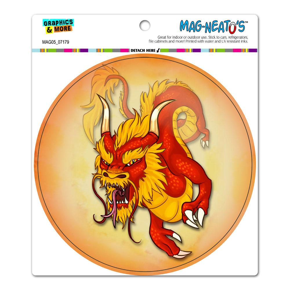 Chinese Dragon - Flying Serpent Fantasy Red Circle MAG-NEATO'S(TM) Car/Refrigerator Magnet
