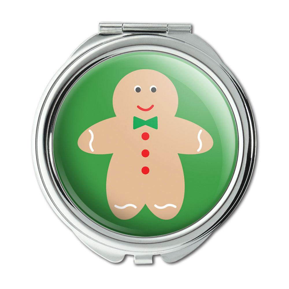 Cute Gingerbread Man Cookie Christmas Compact Purse Mirror