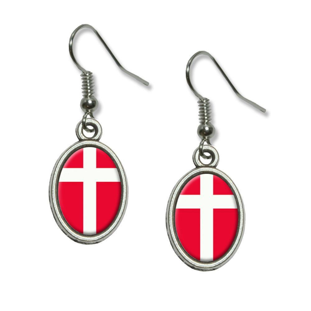Denmark Flag Dangling Drop Oval Earrings