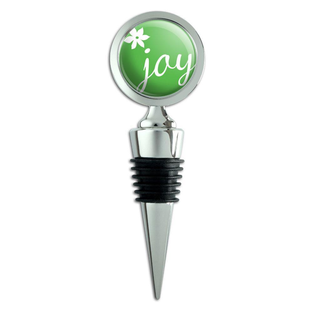Elegant Joy Green Christmas Wine Bottle Stopper