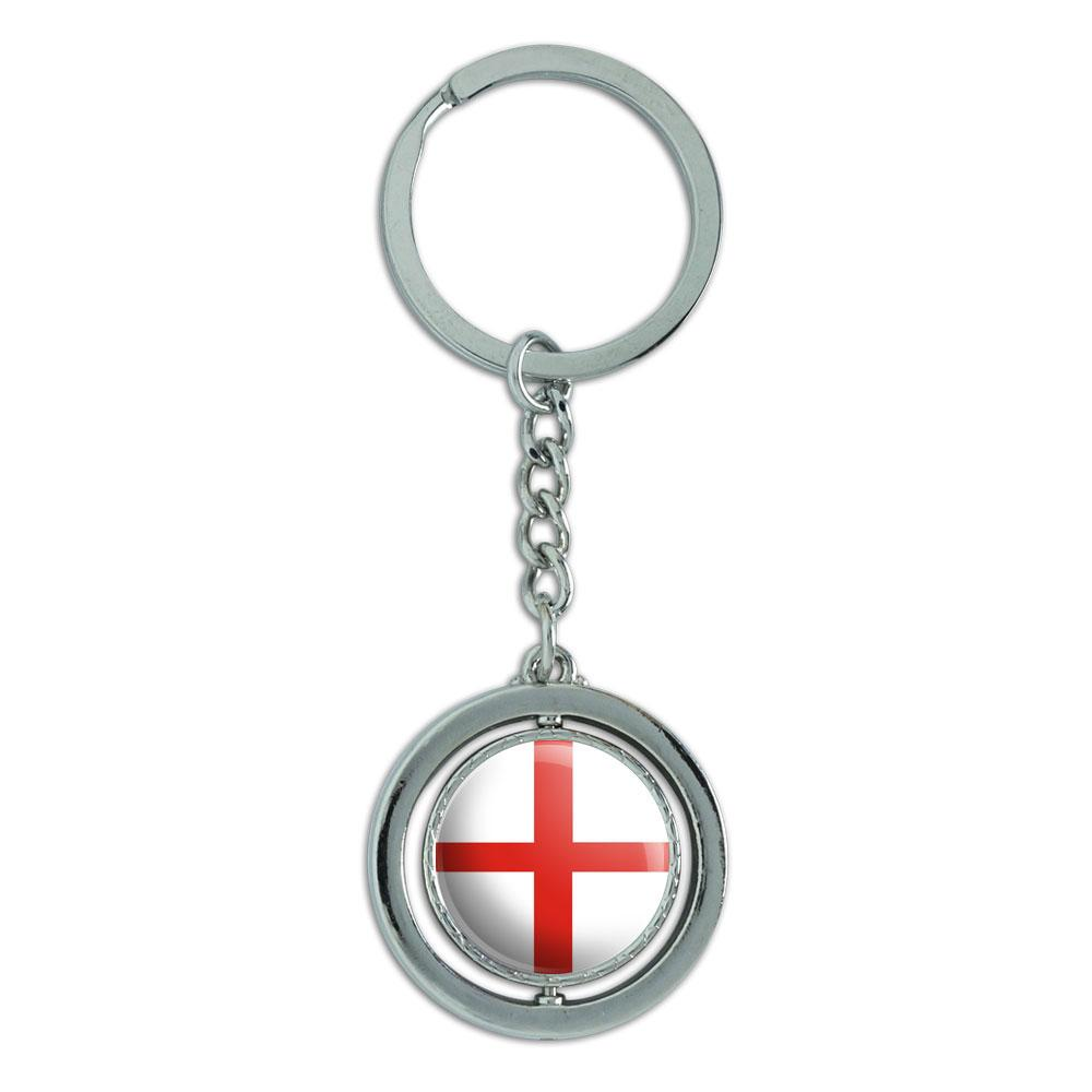 England National Country Flag Spinning Circle Metal Keychain