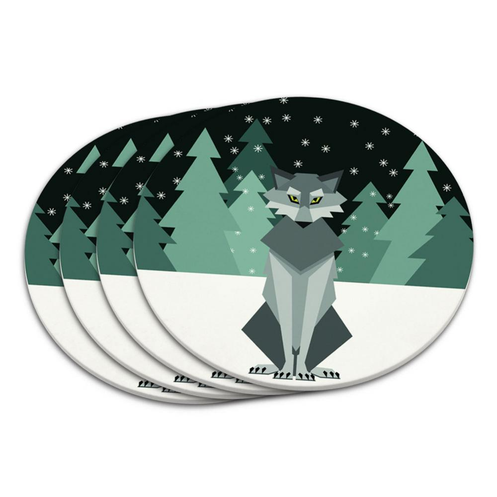 Geometric Wolf Winter Coaster Set