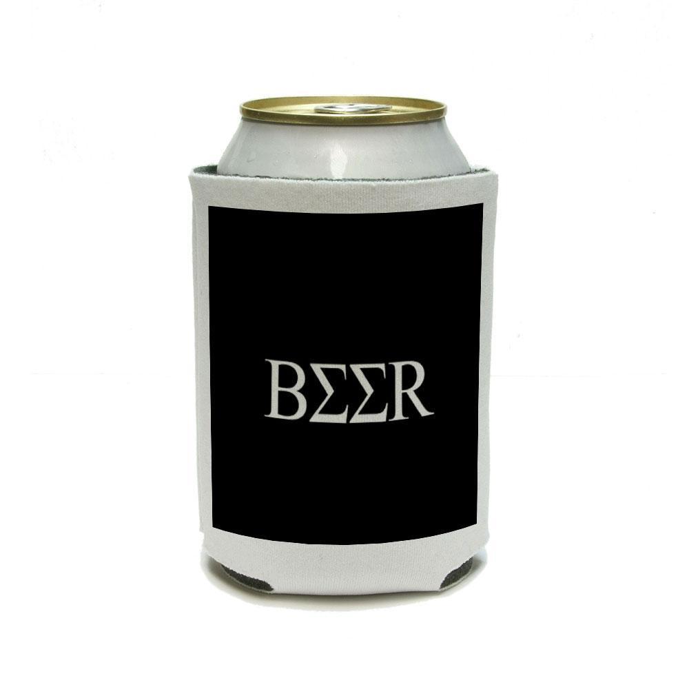 Greek - Beer Fraternity Sorority Black Can Cooler Drink Insulator Beverage Insulated Holder