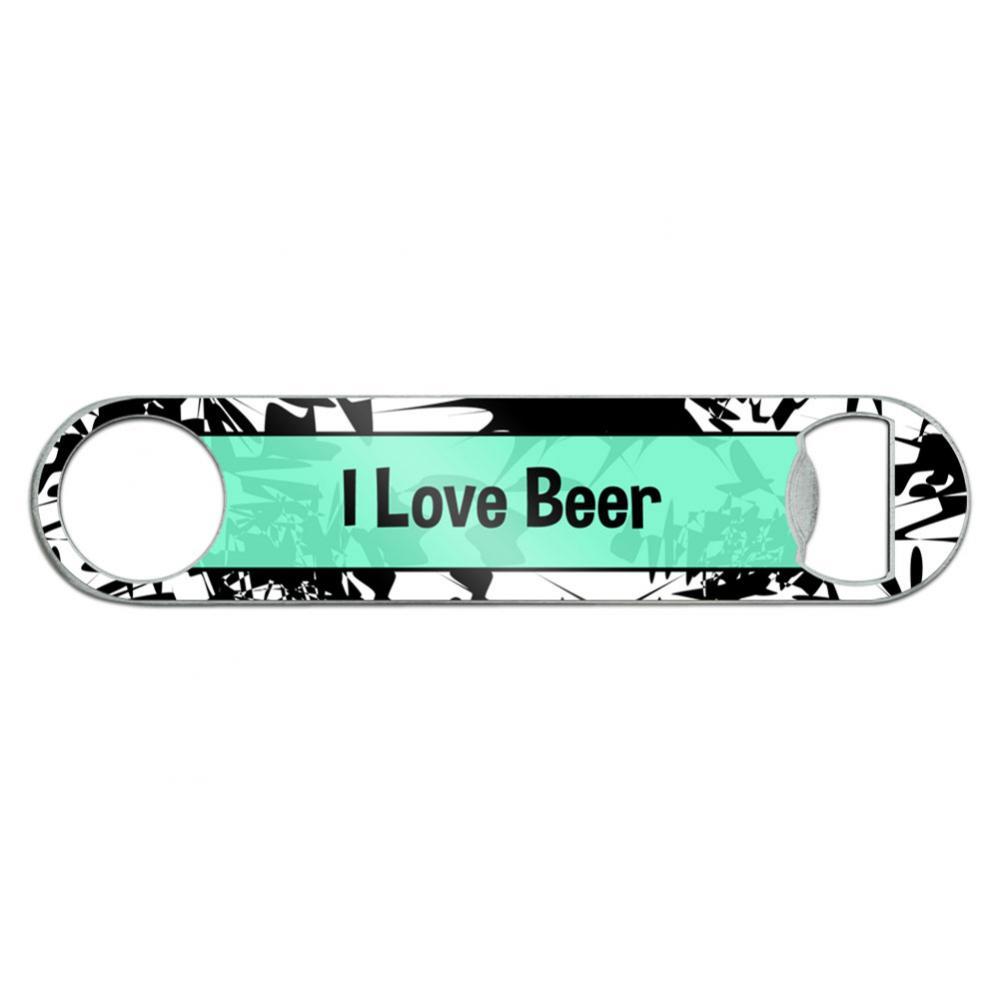 I Love Beer Stainless Steel Flat Speed Bar Bottle Opener