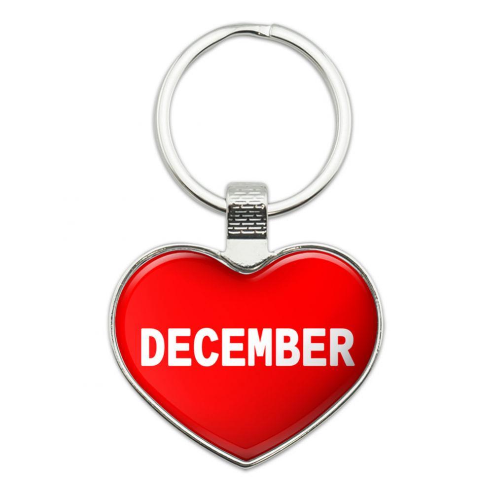 I Love December Heart Metal Key Chain