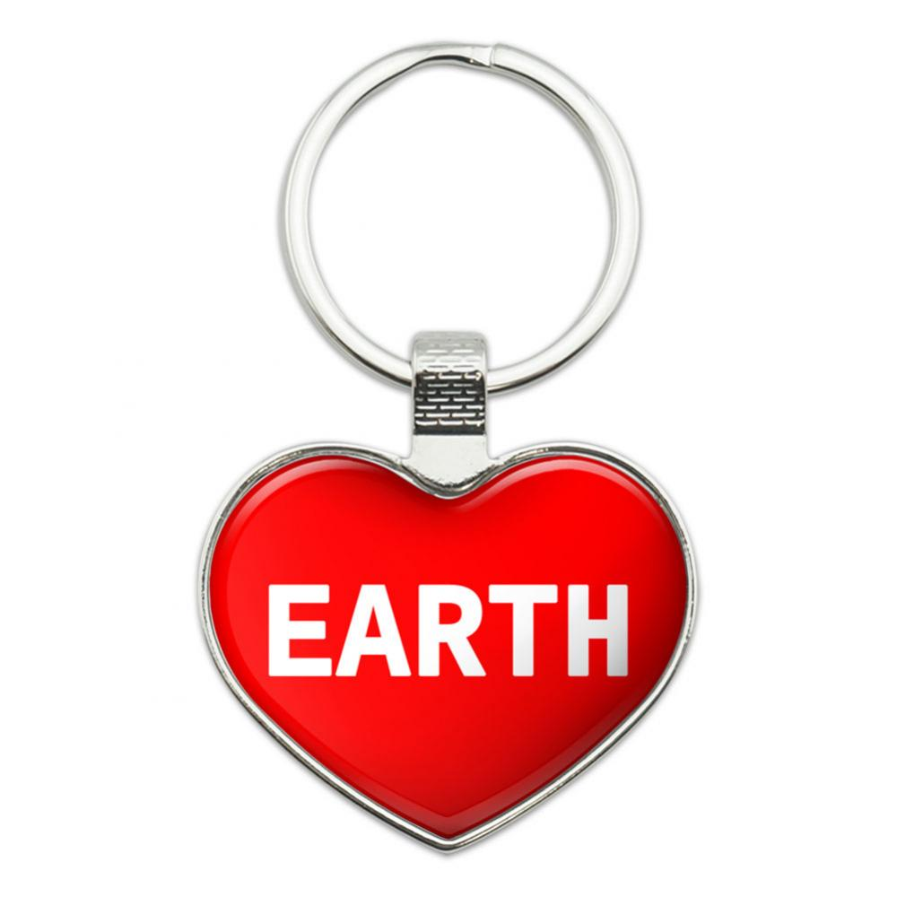 I Love Earth Heart Metal Key Chain