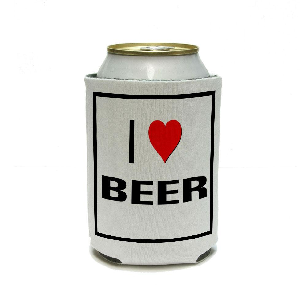 I Love Heart Beer Can Cooler Drink Insulator Beverage Insulated Holder