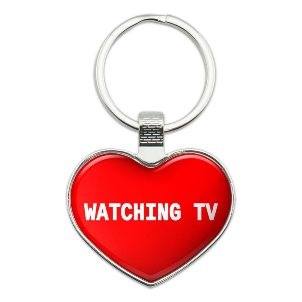 I Love Watching TV Heart Metal Key Chain
