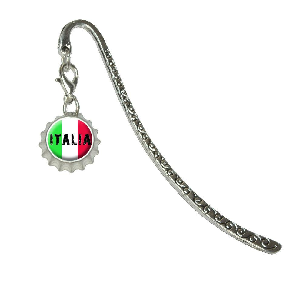 Italia - Italy Italian FlagMetal Bookmark with Bottlecap Charm