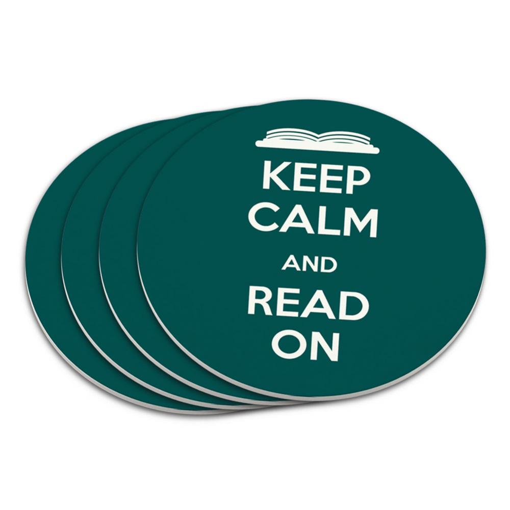 Keep Calm And Read On Books Coaster Set