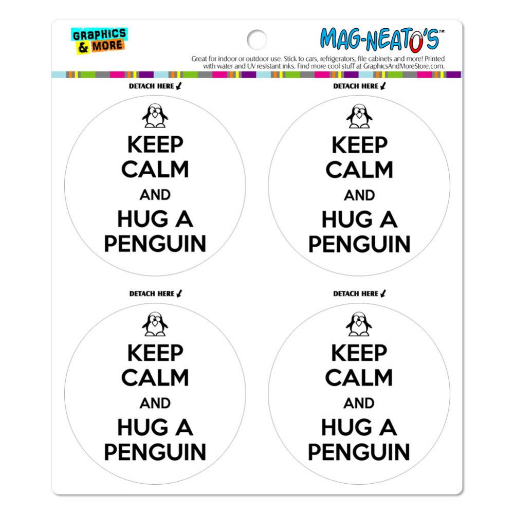 Keep Calm And Hug A Penguin MAG-NEATO'S(TM) Car/Refrigerator Magnet Set