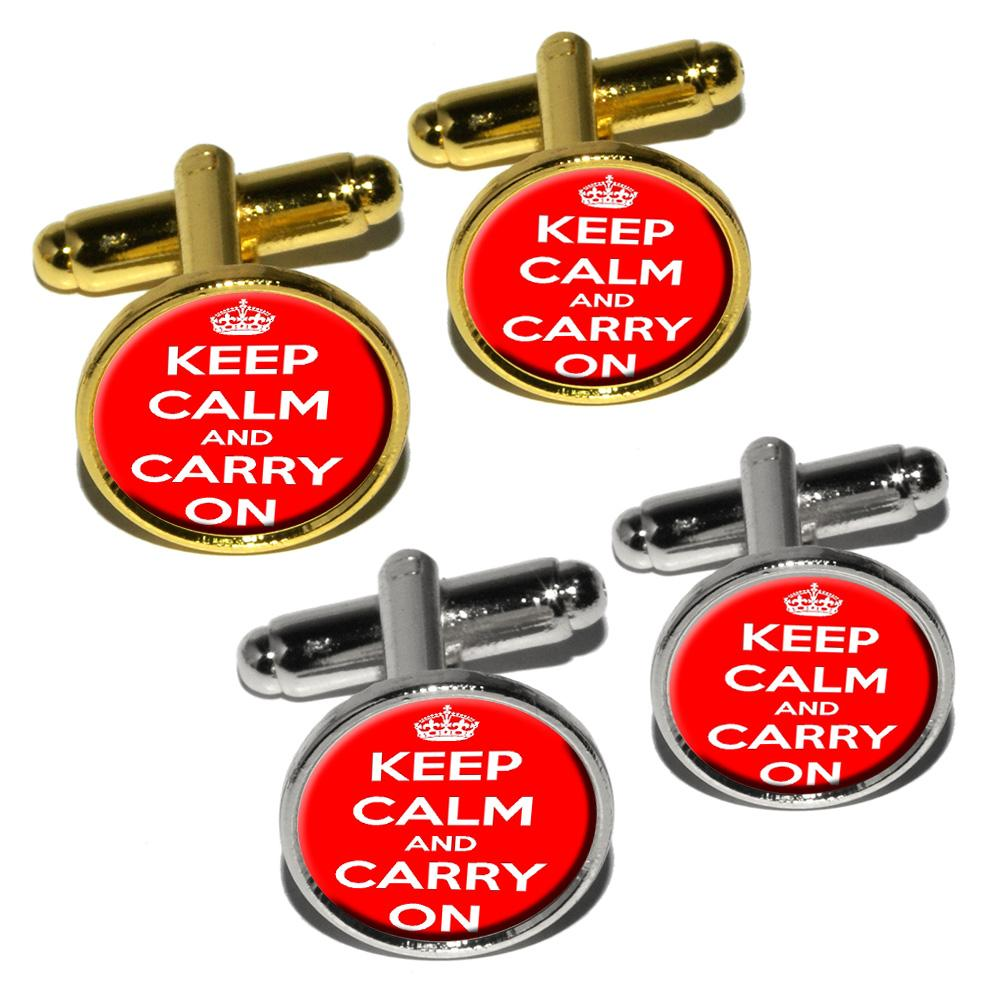 Keep Calm and Carry On Red Round Cufflinks