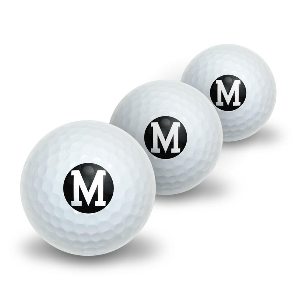 Letter M Initial Black White Novelty Golf Balls 3 Pack