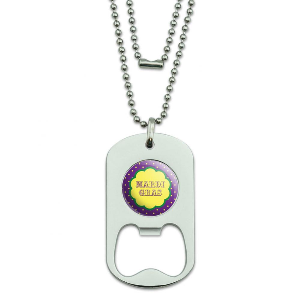 Mardi Gras Celebration New Orleans Dog Tag Bottle Opener