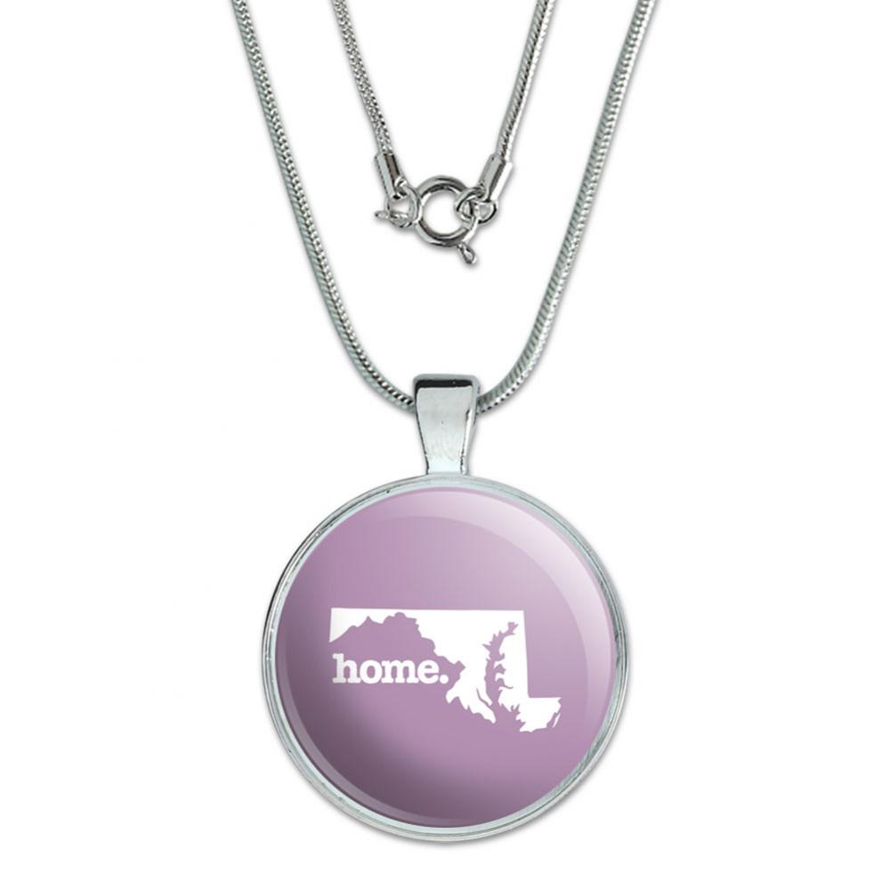 Maryland MD Home State Large Pendant with Silver Plated Chain - Solid Light Rose