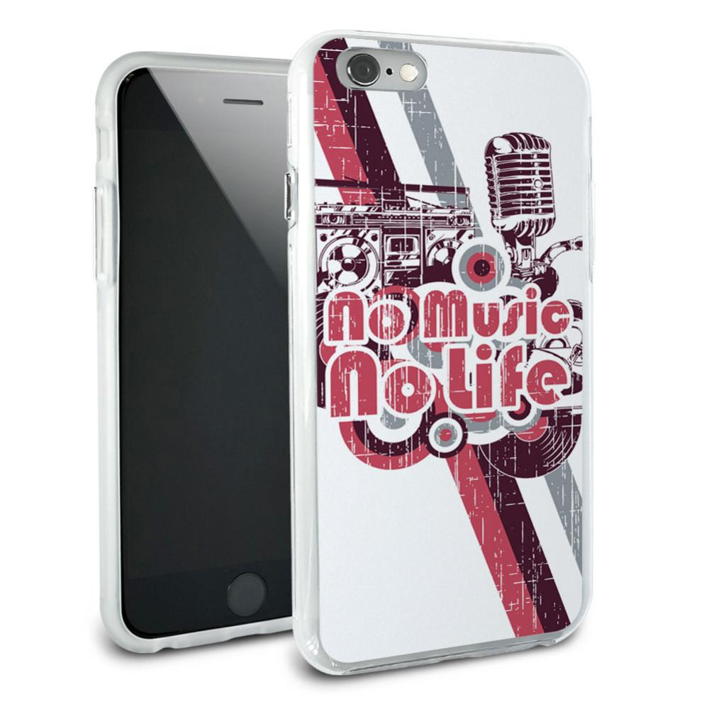 No Music No Life - DJ Radio Stereo Microphone Rock Roll Snap On Protective Slim Hybrid Rubber Bumper Case for Apple iPhone 6
