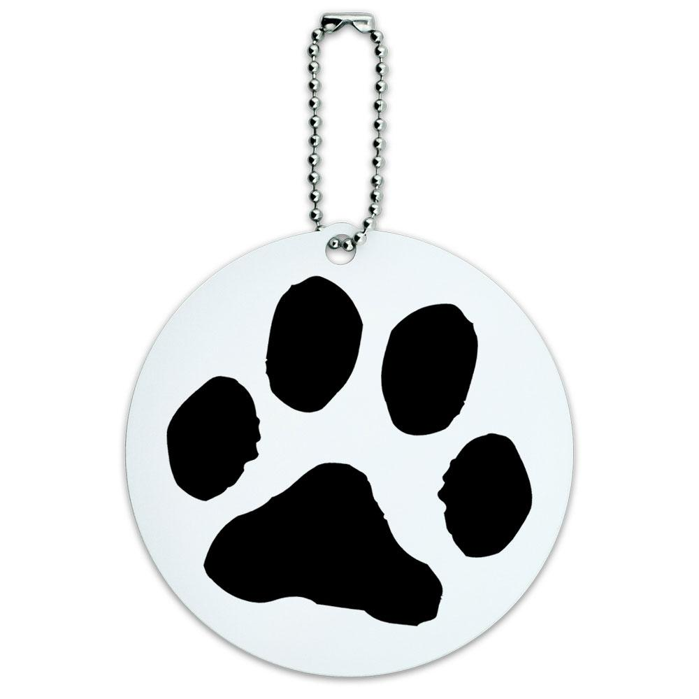 Paw Print Pet Dog Cat Round ID Card Luggage Tag