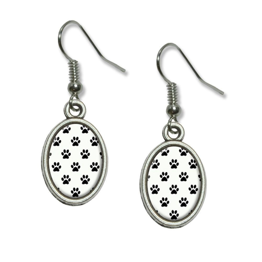 Paw Prints on Parade Black White Dangling Drop Oval Earrings