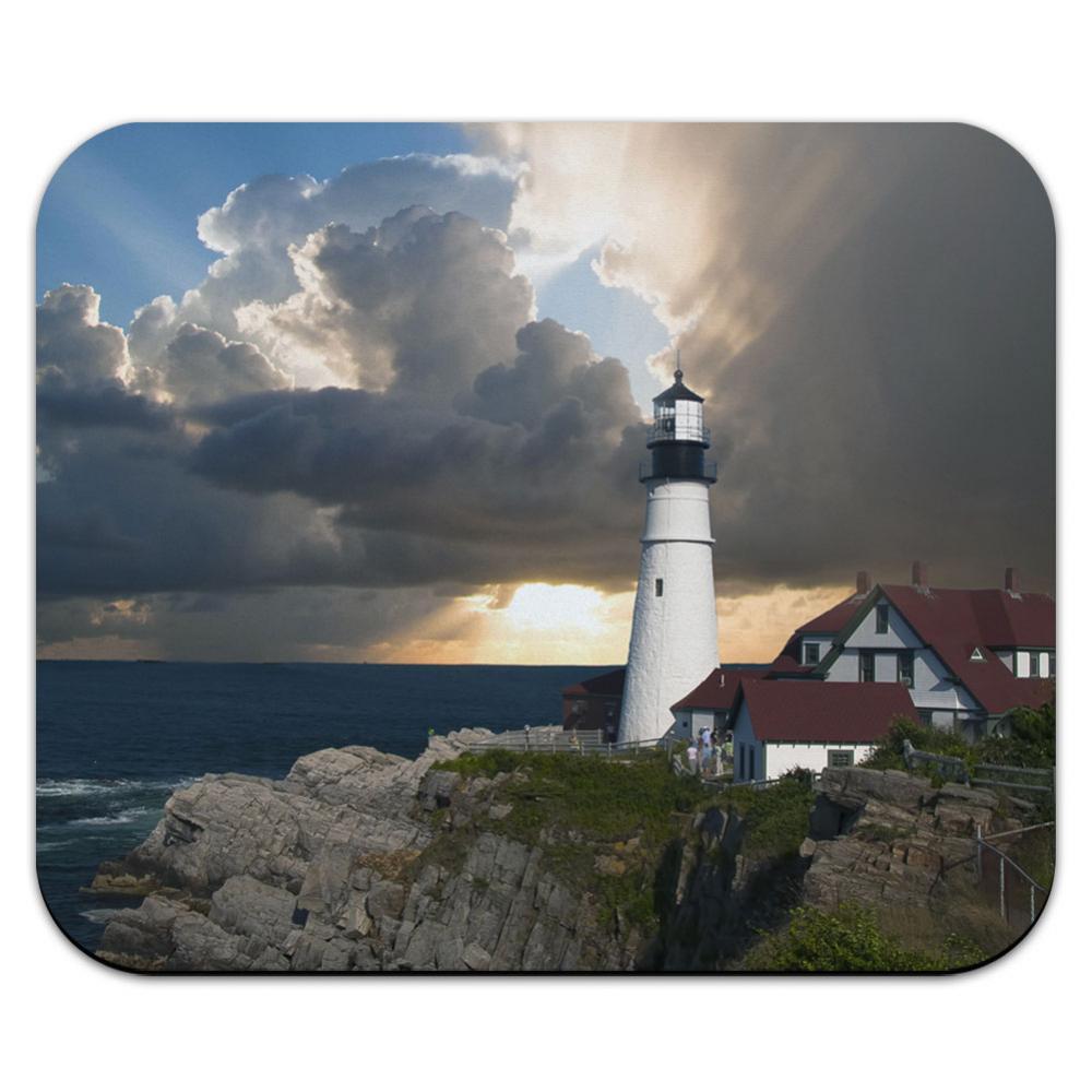 Portland Head Lighthouse Maine Sun Rays Mouse Pad