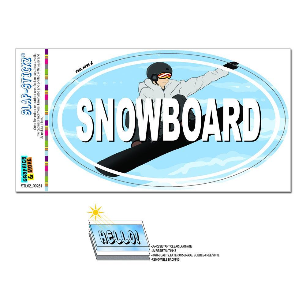 Snowboard Winter Sports - Euro Oval SLAP-STICKZ(TM) Premium Sticker
