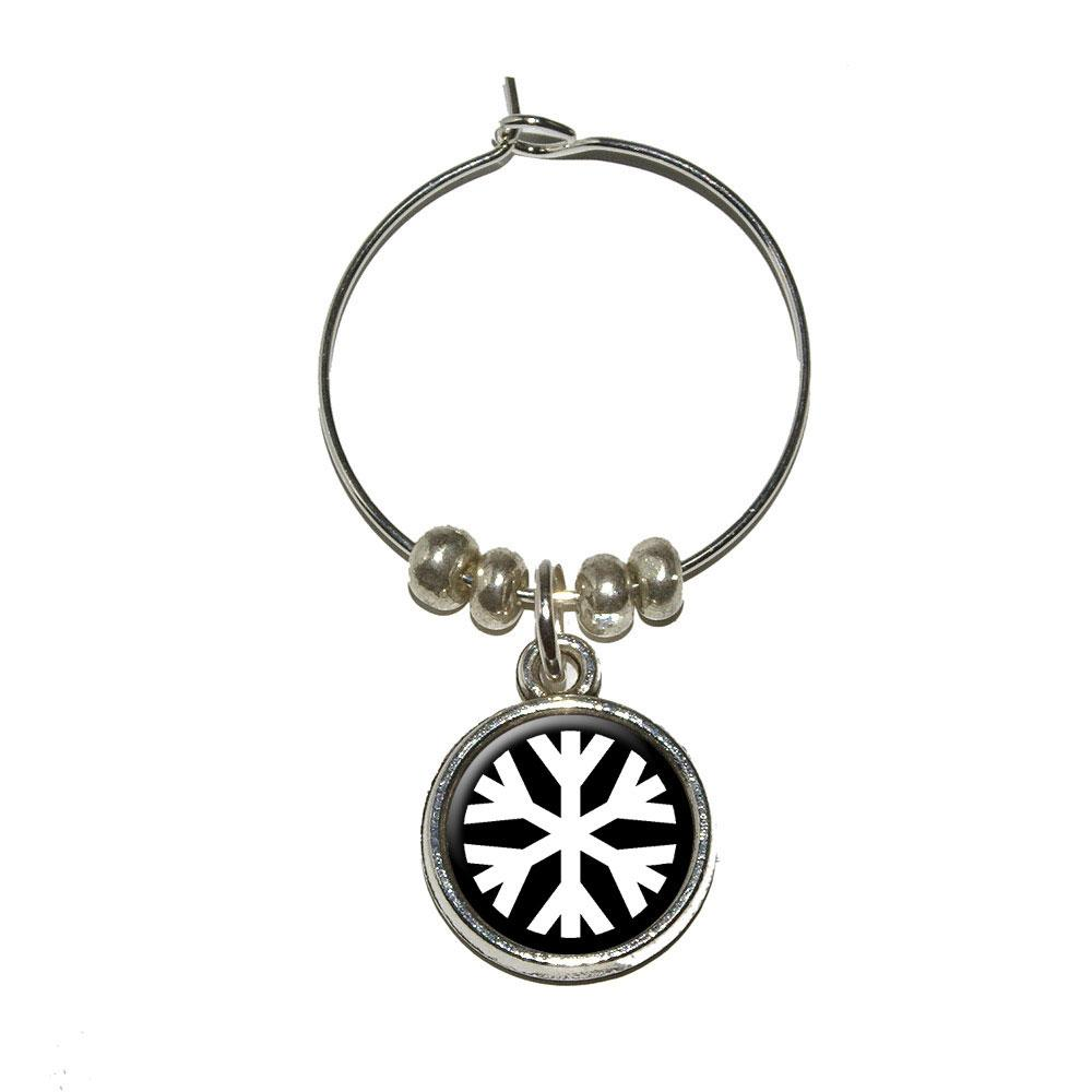 Snowflake - Low Temperature Symbol - White on Black Wine Glass Charm