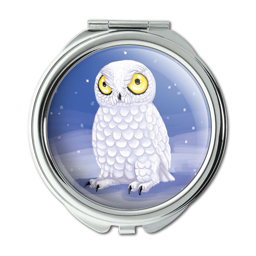 Snowy Owl Bird Snow Compact Purse Mirror