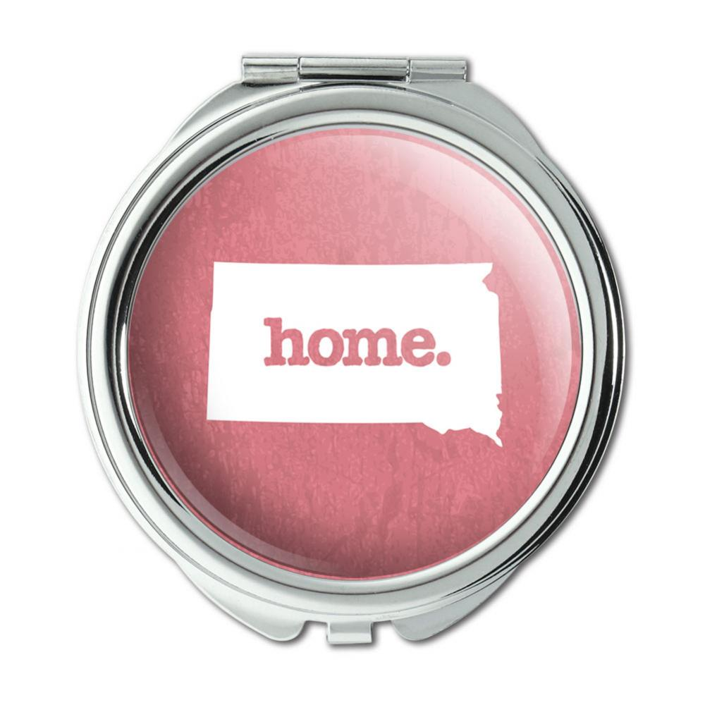 South Dakota SD Home State Compact Purse Mirror - Textured Salmon Pink