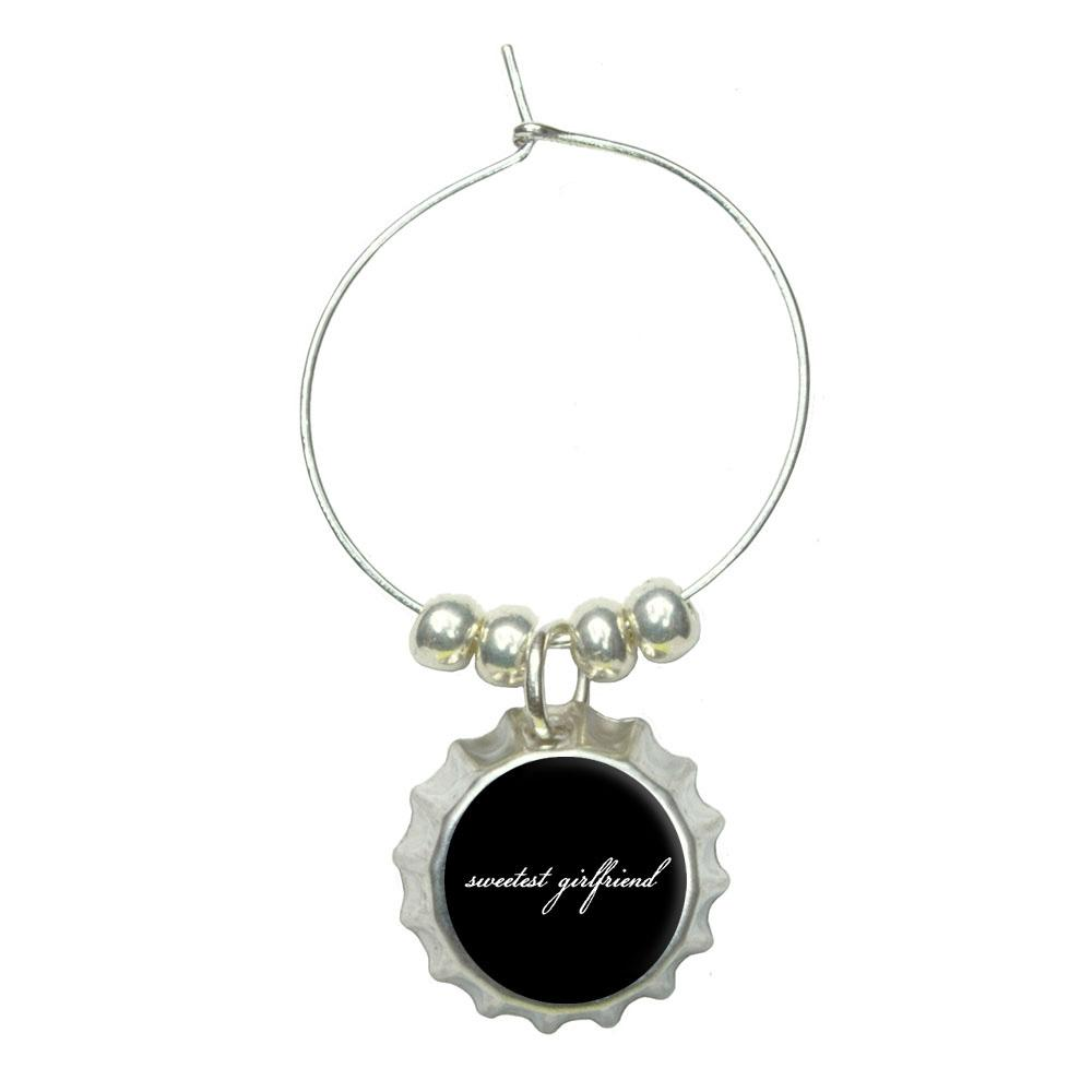 Sweetest Girlfriend on Black Wine Glass Bottlecap Charm