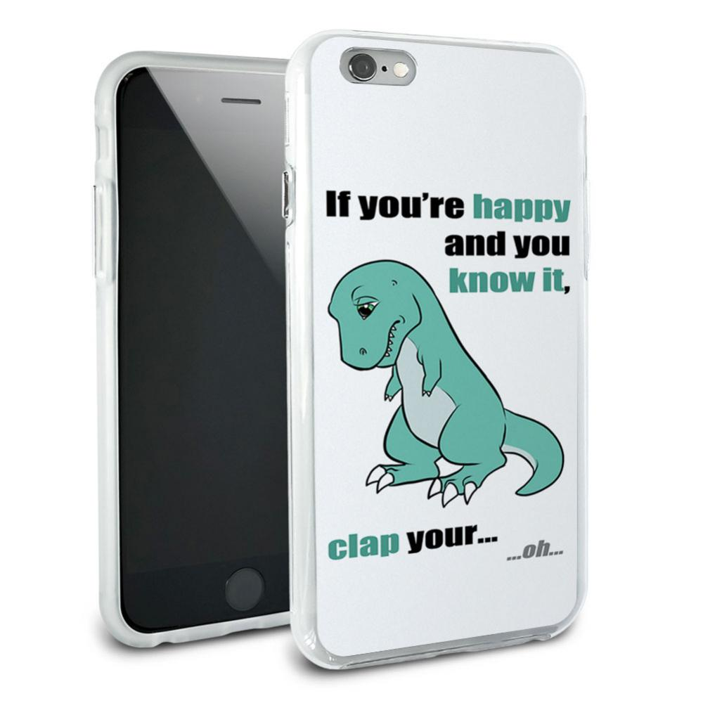 T-Rex Can't Clap Hands - Tyrannosaurus If You're Happy and You Know It Snap On Protective Slim Hybrid Rubber Bumper Case for Apple iPhone 6 Plus