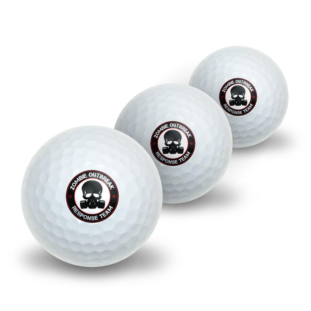Zombie Outbreak Response Team Red on Black - Gasmask Skull Novelty Golf Balls 3 Pack