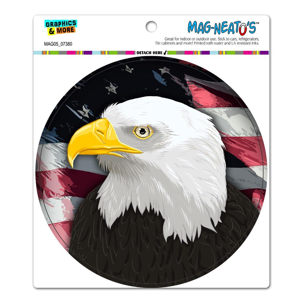 American Bald Eagle - Flag USA Patriotic Circle MAG-NEATO'S(TM) Car/Refrigerator Magnet