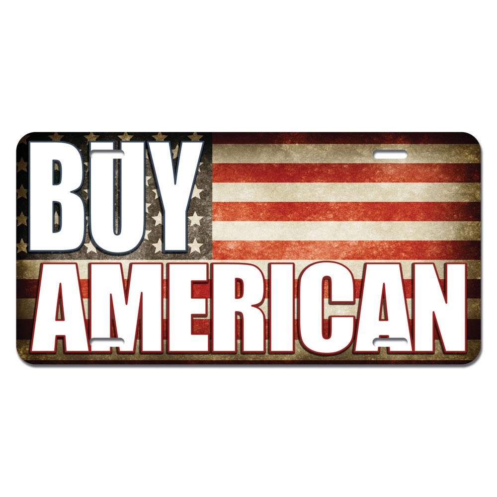 Buy American - USA Flag Novelty License Plate