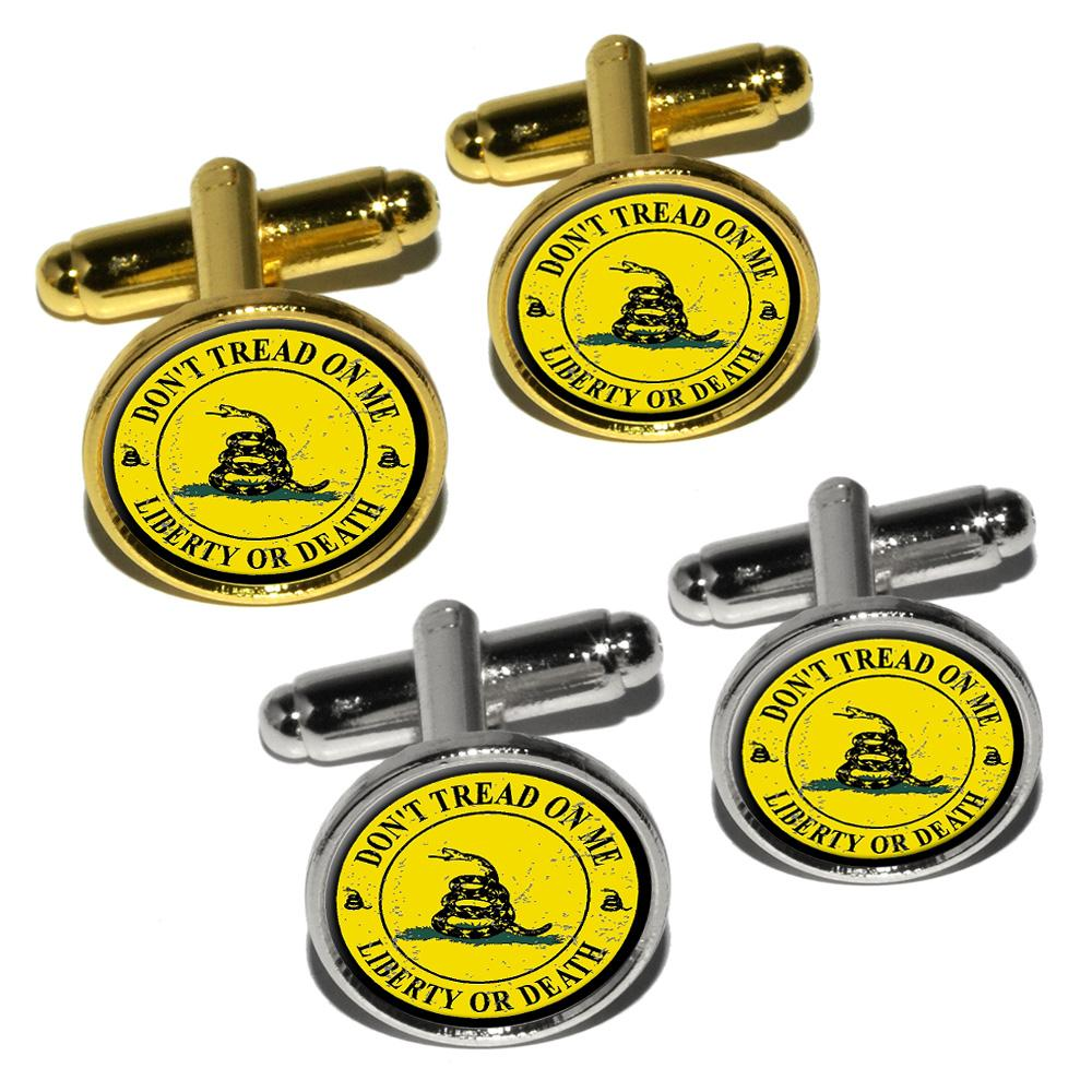 Gadsden - Don't Tread on Me - Liberty or Death - Distressed Circle Round Cufflinks