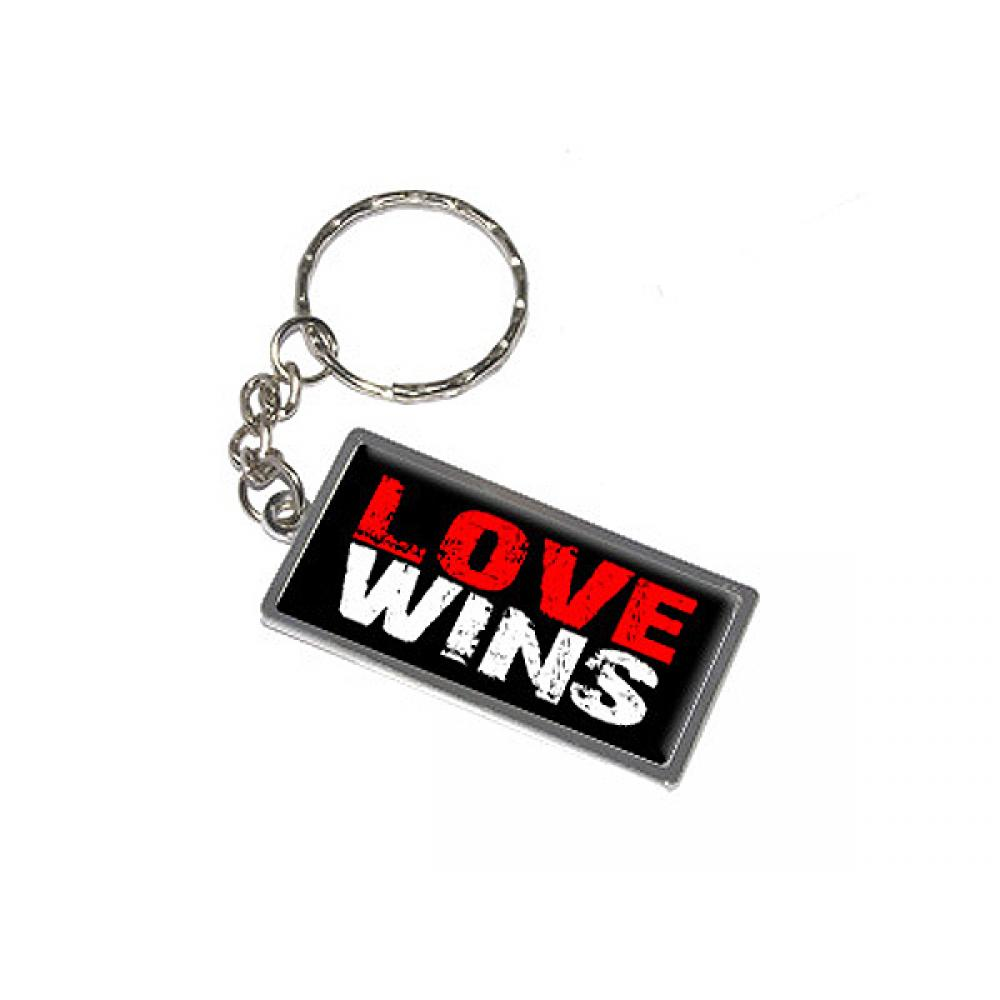 Love Wins Metal Rectangle Keychain