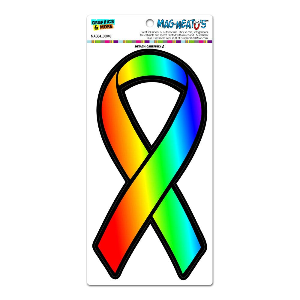 Rainbow Awareness Ribbon Gay Lesbian LGBT Pride MAG-NEATO'S(TM) Car/Refrigerator Magnet