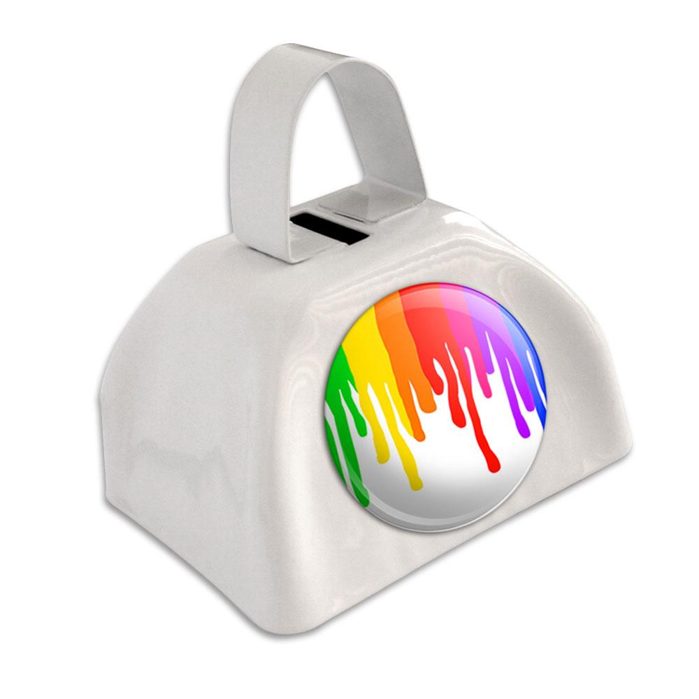 Rainbow Paint Drip Pride Ink Colors White Cowbell Cow Bell