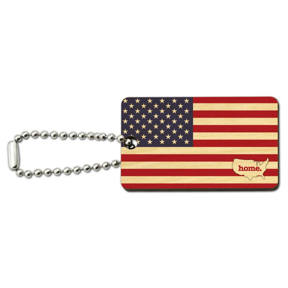 United States of America USA Home Country Wood Wooden Rectangle Key Chain - Flag