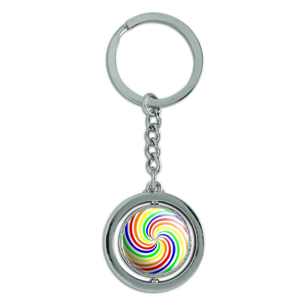 Rainbow Swirl Candy Spinning Circle Metal Keychain