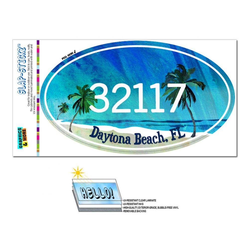 32117 Daytona Beach, FL - Tropical Beach - Oval Zip Code Sticker