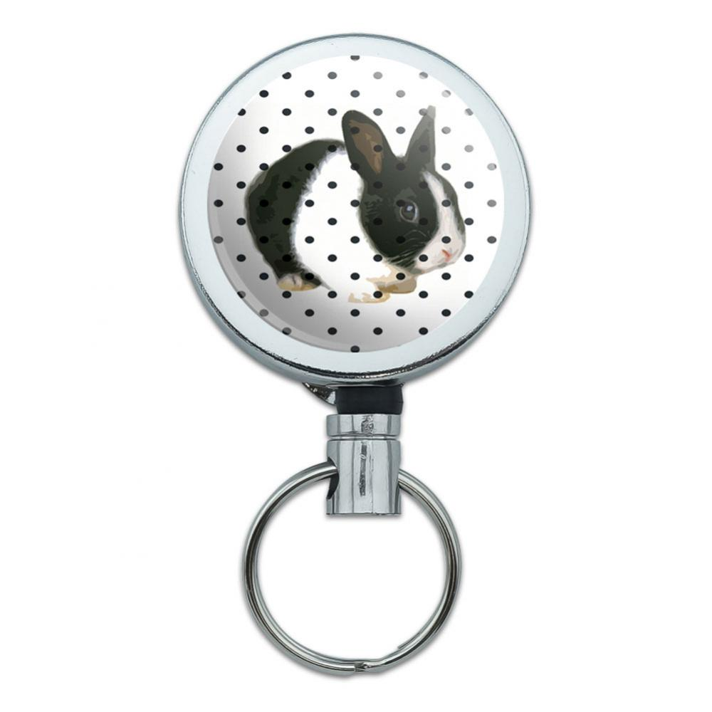 Adorable Bunny Polka Dots Kid's Birthday Easter Retractable Belt Clip Badge Key Holder