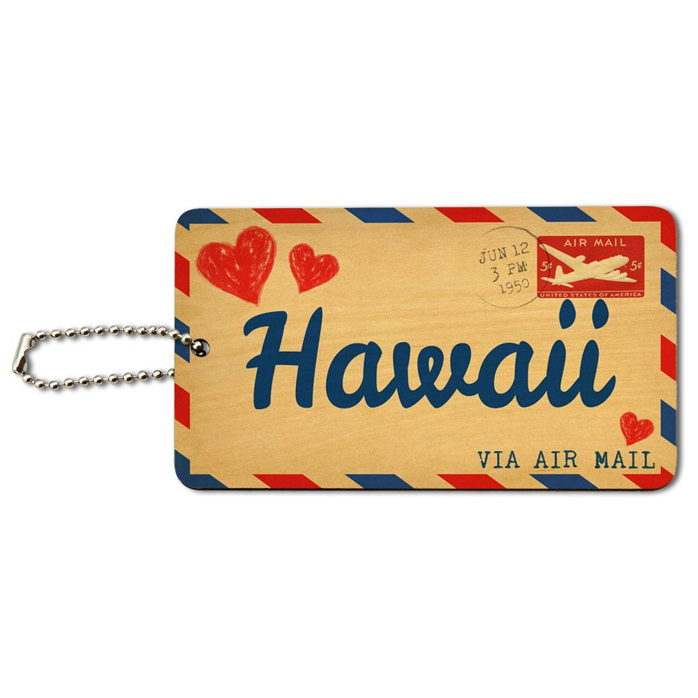 Air Mail Postcard Love for Hawaii Wood ID Card Luggage Tag